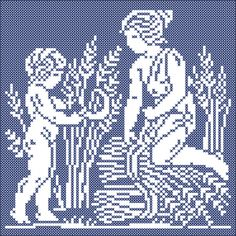 The four seasons: Summer | Chart for cross stitch and filet crochet.