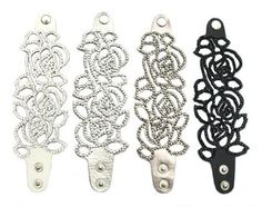 Osolee Lacroix Three Rose Leather Bracelet in black