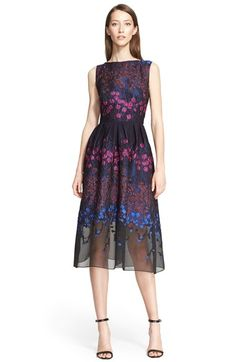 Lela Rose Floral Fil Coupe Fit & Flare Dress @nordstrom