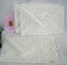Napperon papier dentelle enveloppes, mariage Invitaion Liners Vintage inspirée, la main Shabby Chic, blanc 5,5 « x 8,25 » taille A8 50 pces
