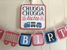 Choo choo and Tutu twin birthday party package/ choo choos and