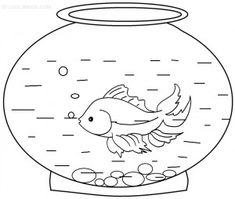 easy goldfish coloring page for kids coloring pages pinterest