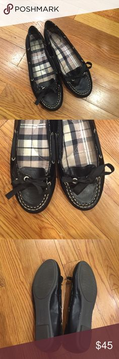 75282b961ff Sperry leather boat shoes Black sperry top-sider chandler ballet flat with  ribbon tie.