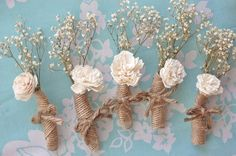 Petite Ivory Simple Shabby Chic Rustic Boutonniere