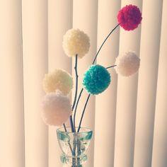 Yarn Pom Flower DIY