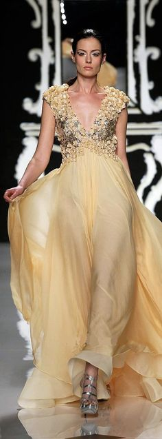 Light yellow Vanilla evening gown by Abed Mahfouz