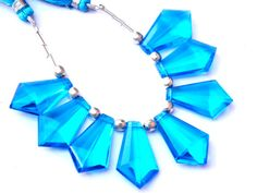 AAA  Blue Quartz Faceted Fancy Briolettes by GemsPebblesandBeads, $40.00