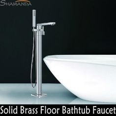 Bathroom Products Solid Brass Chrome Finished Luxurious Square Floor Mounted Bathtub Faucet Mixer Tap 18007