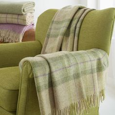 ○ British Wool Green Check Throw - blankets & throws