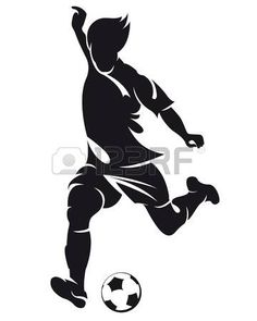 вектор футбол (футбол) игрок под управлением силуэт с мячом изолированного photo