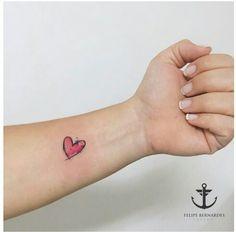 Watercolour heart tattoo