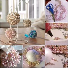 These pearl Christmas tree ornaments are so easy to make and also you will have a lot of fun in making them. Grab your materials and lets get to work: Styrofoam ball, hoked pins, long pins, pearls (different shapes and sizes), glue gun, colored ribbon. What is important to know is that them colored the …