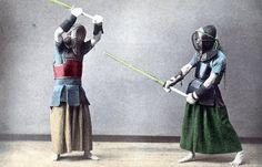 Kendo. Hand-Coloured Vintage Photo. Circa 1905.