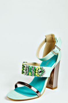 { embellished sandals } in aqua