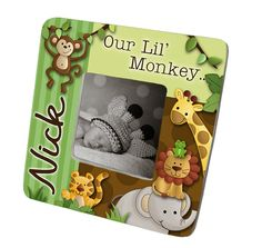PHOTO FRAME Jungle Safari Animal Picture Birth by ToadAndLily, $15.00