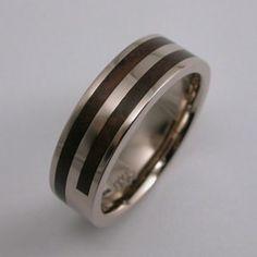 Bespoke Wood Strip Men's Wedding Ring 14 Carat White Gold & Thames Wood