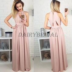 Pleated Prom Dress, Chiffon Prom Dress, Side Split Prom Dress, A-Line Prom Dress, Sleeveless Prom Dress, D52