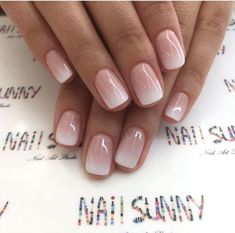 Enter gorgeous bridal nail arts that can be customised to match your ensemble; think stunning gold-traced tips, miniature floral designs, stylish glitter nails or even OTT embellished nails that are… Cute Nails, Pretty Nails, My Nails, Pink White Nails, Pink Ombre Nails, Nails Today, Classy Nails, Gorgeous Nails, Neutral Nail Art