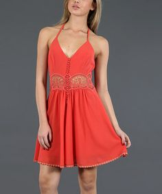 Look what I found on #zulily! Tomato Crocheted Halter Skater Dress by Double Zero #zulilyfinds