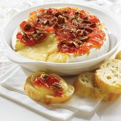 Sweet and tangy baked brie. 1 wheel g) PC Double Cream Brie ¼ cup mL) PC Hot Red Pepper Jelly ¼ cup mL) chopped pecans 1 tsp mL) packed dark brown sugar Pepper Jelly Recipes, Red Pepper Jelly, Appetizers For Party, Appetizer Recipes, Brie Fondant, Cheese Recipes, Cooking Recipes, Baked Brie, Stuffed Hot Peppers