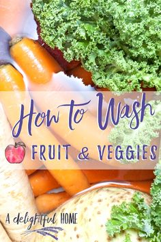 Wash fruit and veggies as part of a healthy living lifestyle. Even when choosing naturally organic washing your produce is a must. Fruit And Vegetable Wash, How To Wash Vegetables, Organic Vegetables, Fruits And Veggies, Store Vegetables, Vegetable Dishes, Raw Food Recipes, Healthy Recipes, Healthy Food