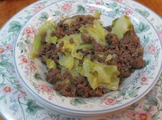 Don't be fooled by the simplicity of this dish. As it cooks, the flavors blend to create something that's not at all simple -- the cabbage undergoes a subtle transformation when it melds with the ground beef. Even better the next day. This is comfort food. It's not soup, but we eat it out of bowl like soup, pairing it with cornbread or crusty garlic bread. It makes a lot, but it's wonderful tucked into whole-wheat pita for lunch the next day. Or add a can of chopped tomatoes, a can of corn…
