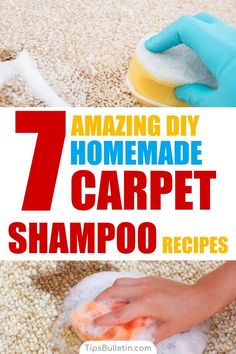 7 DIY Homemade Carpet Shampoo Recipes - including DIY recipes of natural carpet cleaner for light-colored, carpet cleaning machine solution, a homemade citrus-enzyme cleaner, a pets stain odor remover spray and hydrogen peroxide baking soda carpet soak. Deep Cleaning Tips, House Cleaning Tips, Spring Cleaning, Cleaning Hacks, Diy Hacks, Diy Carpet Cleaning, Cleaning Solutions, Cleaning Pet Urine, Floor Cleaning