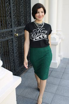 T-shirt and leather pencil skirt.||so me with that batman tee ...