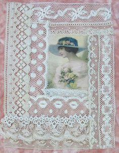 Vintage & Antique Lace Collage with Image No.1 ... For framing, crazy quilting, heirloom sewing, fabric art, books, journals, assemblage...