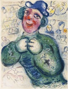 MARC CHAGALL Le Cirque. Color lithograph, 1967. 420x318 mm; 16 1/2x12 1/2 inches. Edition of 250. Published by Tériade, Paris. From the same-titled suite. A very good impression with strong colors. Mourlot 505 http://zaidan.ca/Art_Gallery/Chagall/Marc-Chagall.htm