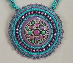 Purple and Turquoise Bubbles Necklace and Brooch by beadn4fun, $70.00
