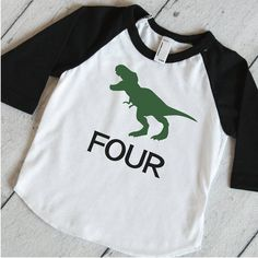 Dino Raglan Shirt T-Rex Shirt, Dino Birthday Shirt, 4th Birthday Shirt, Boys Birthday Shirt, Dinosaur 4th Birthday Party Shirt 317 #4th_birthday_shirt #birthday_dinosaur #boy_birthday_shirt