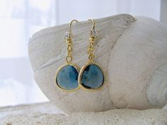 Sapphire Glass Gemstone Earrings & Rhinestone, Montana Blue Rhinestone Earrings, Beach Wedding, Sapphire Bridesmaids, September Birthstone by LetItBeLove on Etsy
