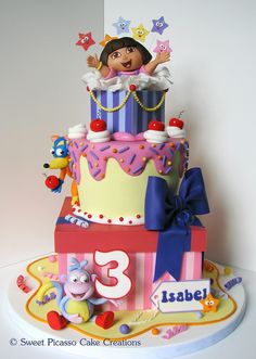 Dora Cake! This is the first one I've seen that I just love! Though I think it might be a little too much for her party...