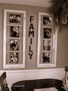 old windows. I thought this was a creative way to decorate your dining room area! To bring colour to the place you could also paint the window frame and add colour to the family letters