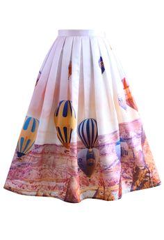 Hot Air Balloon Festival Print Midi Skirt - New Arrivals - Retro, Indie and Unique Fashion