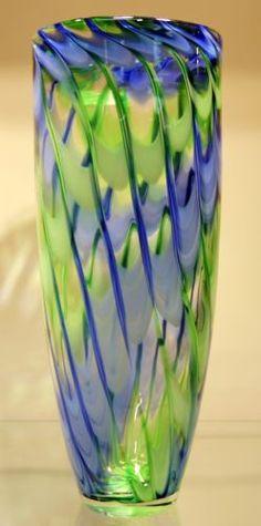 "New 14"" Hand Blown Glass Murano Art Style Vase Blue Green Italian"