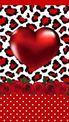 RED ROSES AND HEART IPHONE WALLPAPER BACKGROUND