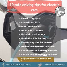 Before driving your electric car you need to know some basic safe driving tips for electric cars. 10 easy and safe tips for driving electric cars (EVs) in Safe Driving Tips, Driving Rules, Driving Safety, Electric Car Kit, Low Car Insurance, Driving School, Auto News, Safety Tips, Ways To Save Money