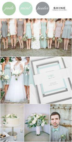 Mint + Soft Jade + Gray Wedding Inspitation from Shine Wedding Invitations - Mix match bridesmaids dresses, mint bowtie, simple white cake, succulent bouquet, mint wedding invitations, monogram