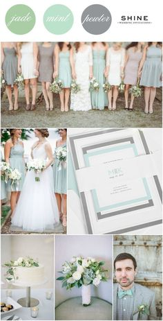 Mint + Soft Jade + Gray Wedding Inspitation from Shine Wedding Invitations - Mix match bridesmaids dresses, mint bowtie, simple white cake, succulent bouquet, mint wedding invitations, monogram