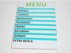 A great how-to for organising your dinner menu and creating your own write/erase board that you can change easily as your needs change. A weekly menu planner. #organisation #organiztation #menu #dinner #diy