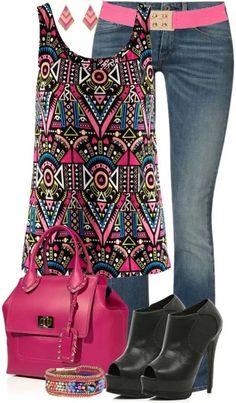 Outfit colorido para primaver si le añadimos chaqueta o así para el verano