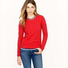 J,Crew Red Wool & Angora Blend Honeycomb Cable Knit Crew Neck Sweater L #JCrew #Crewneck