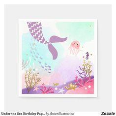 Under the Sea Birthday Paper Napkin Mermaid Pink Custom Party Invitations, 1st Birthday Invitations, Baby Shower Napkins, Party Napkins, 1st Birthday Girls, Mermaid Birthday, Pink Birthday, Birthday Gifts, Under The Sea Party