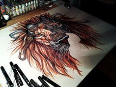 Artist Paula Duta Generates Comprehensive Steampunk Lion Drawing, http://photovide.com/artist-paula-duta-generates-comprehensive-steampunk-lion-drawing/