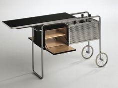 Descarga el catálogo y solicita al fabricante Misuraemme los precios de mueble bar en acero y madera con ruedas Ar1, diseño Alfred Roth, colección Atelier