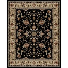 Concord Global�Valencia Rectangular Black Floral Area Rug (Common: 8-ft x 10-ft; Actual: 7-ft 10-in x 9-ft 10-in)