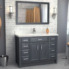 "Calais 48"" French Gray Vanity by Studio Bathe- en-suite guest bath"