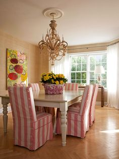 "love the pink & white striped chair slipcovers Love the slip covers - pink & white strips ""not so much"" Decor, Furniture, Room, Interior, Dining, Slipcovers For Chairs, Home Decor, Dining Room Decor, Dining Room"